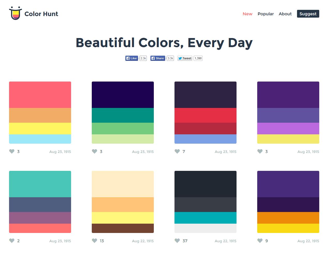 ホームページの配色で悩んだら「Color Hunt」